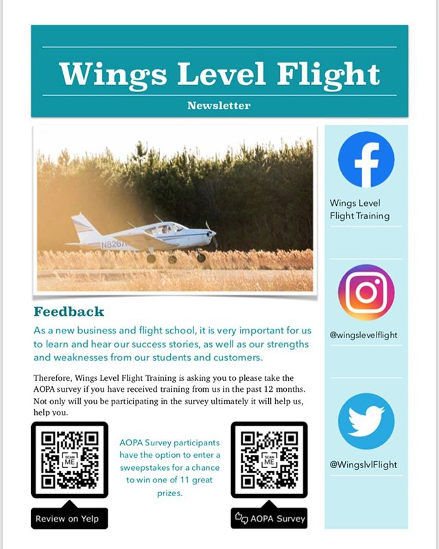 Have you followed us on all social media? If not make sure to go follow us to see all of our latest updates and news.  Review Wings Level on Yelp by scanning the QR code below, or following this link: https://www.yelp.com/biz/wings-level-flight-training-cleveland-3  AOPA Survey: https://www.aopa.org/news-and-media/all-news/2019/june/03/2019-aopa-flight-training-experience-survey-opens?fbclid=IwAR2t2g6MW5oIJ4ashzUTS2lMNm0_VtZNzfZdFeEiDm8dkmxUXu_GVQgC3vo
