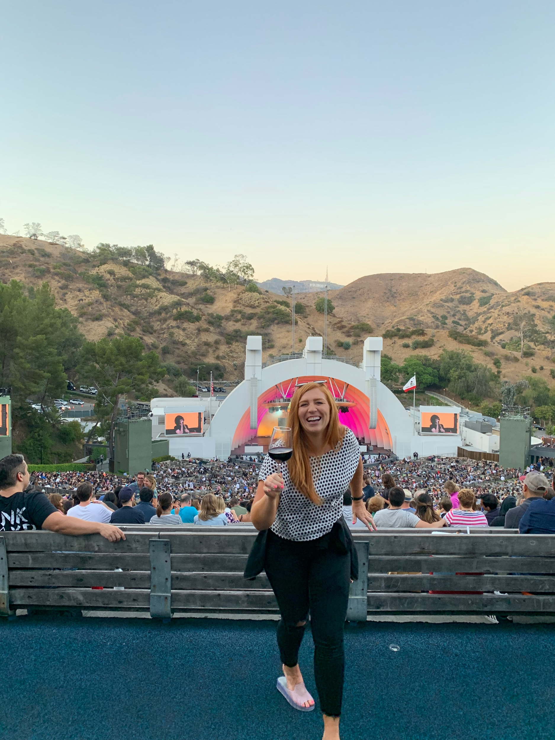 Peep the Hollywood sign above the stage!