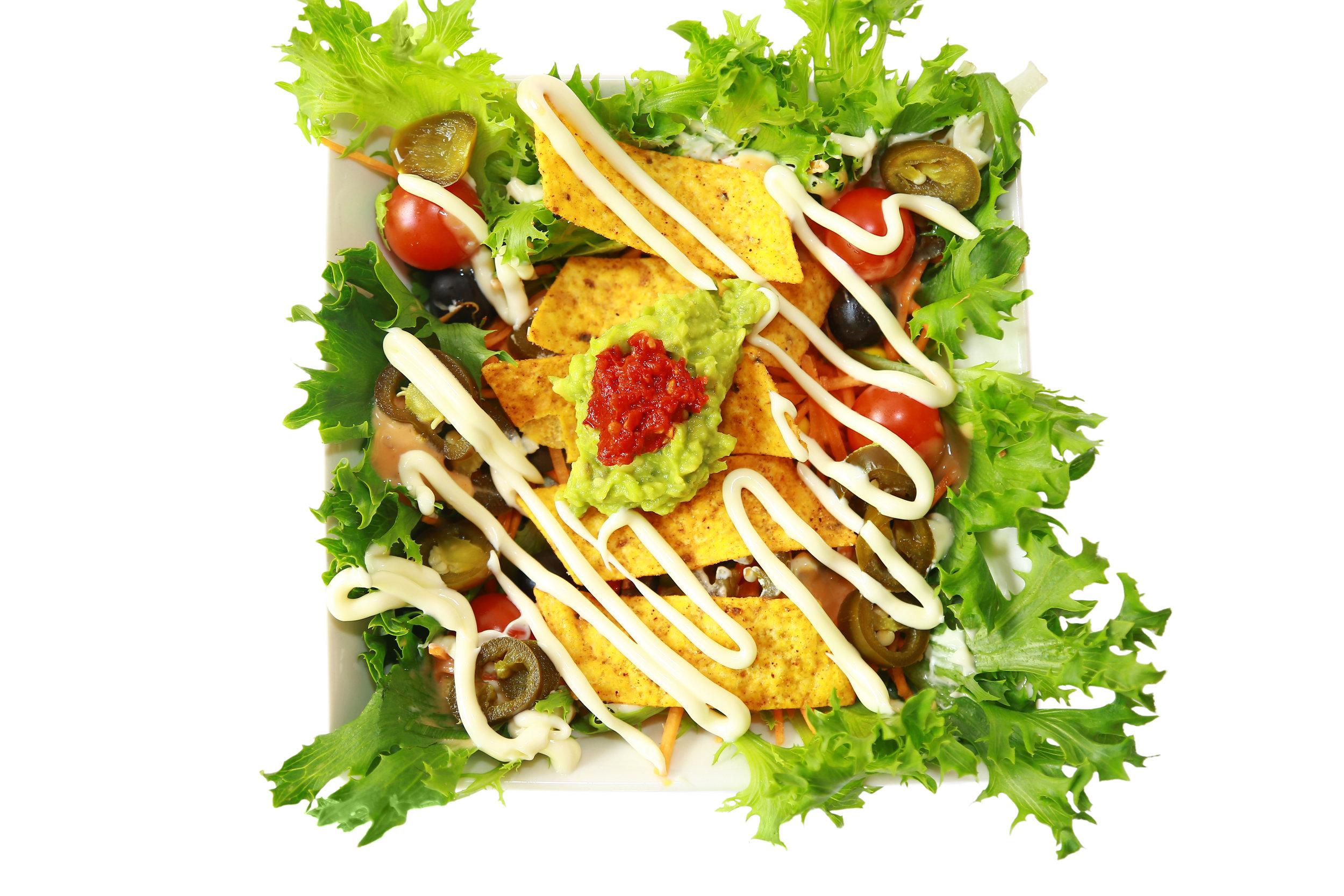 Mexikhana Chipotle - Salads with Nachos-Guacamole-salsa.JPG