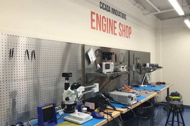 Engine Shop sign on wall