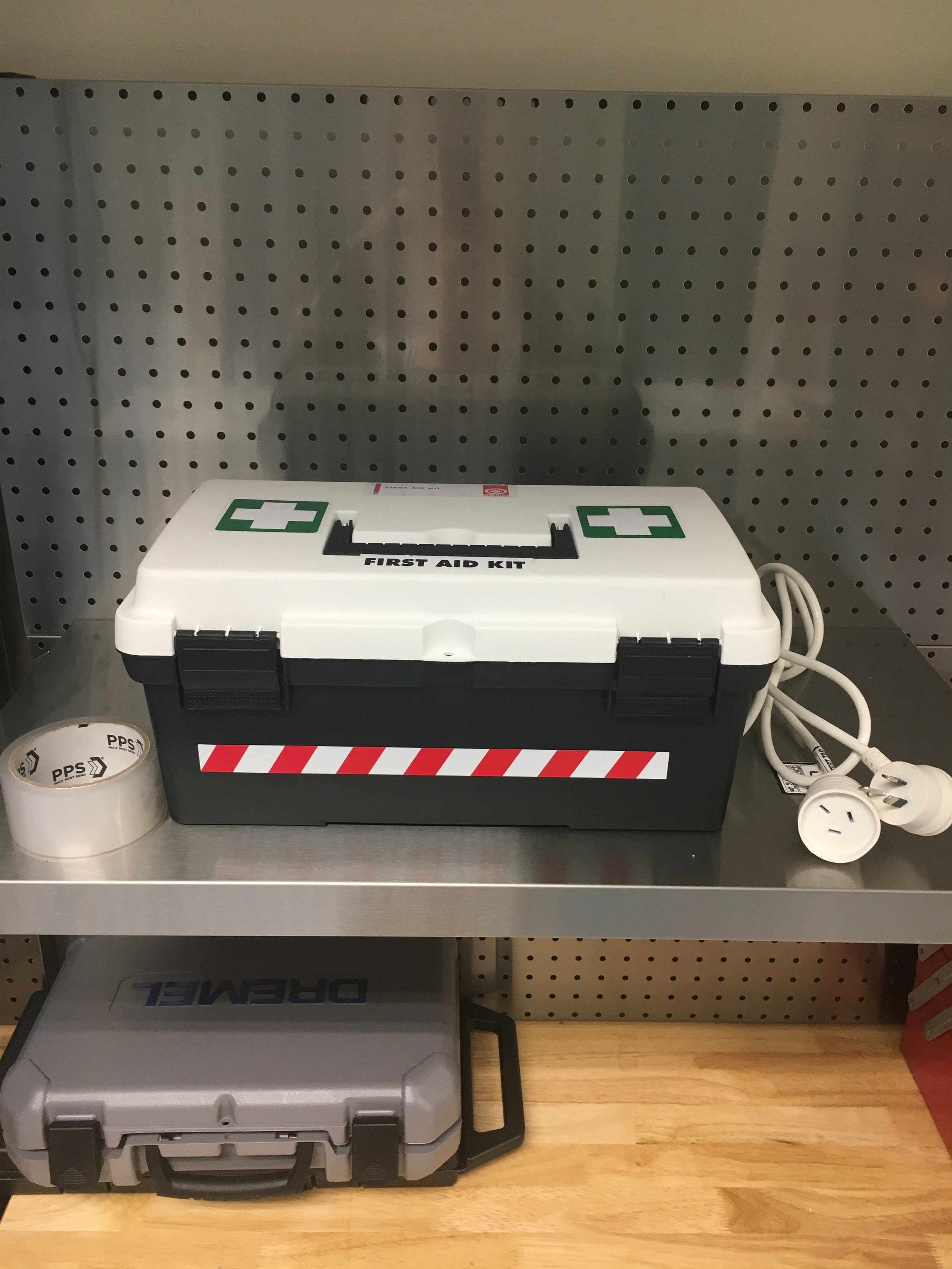 FIRST AID KIT - G 14: Located on silver shelf above tool bench.G07 7: Located on entrance door.T 11 : Located under main bench.Please use this for any small cuts or incidents.Any injury requiring more than a bandaid, please contact Cicada Innovations.