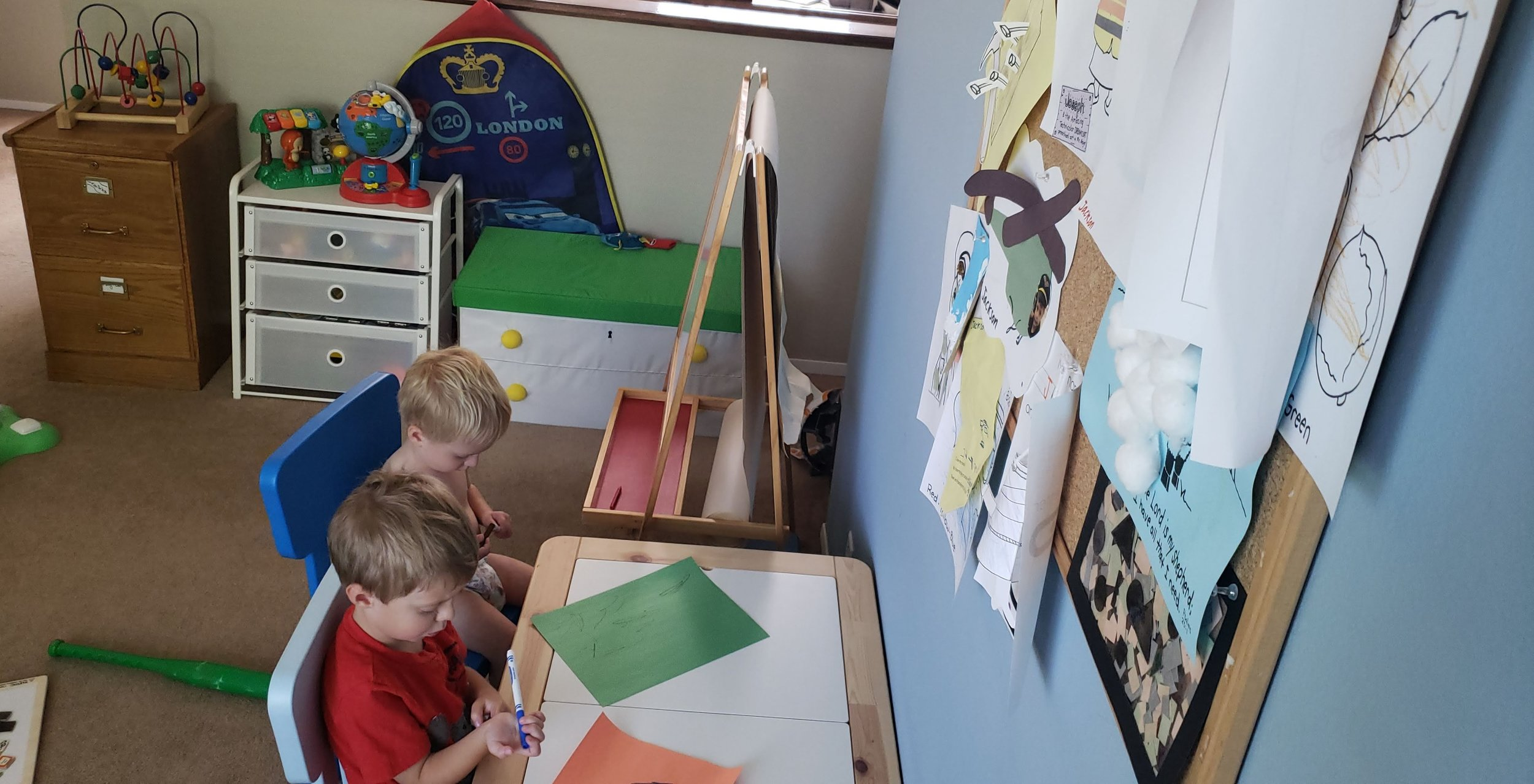 And last but not least: The playroom in its natural, un-staged element :)   IKEA Easel    IKEA children's table