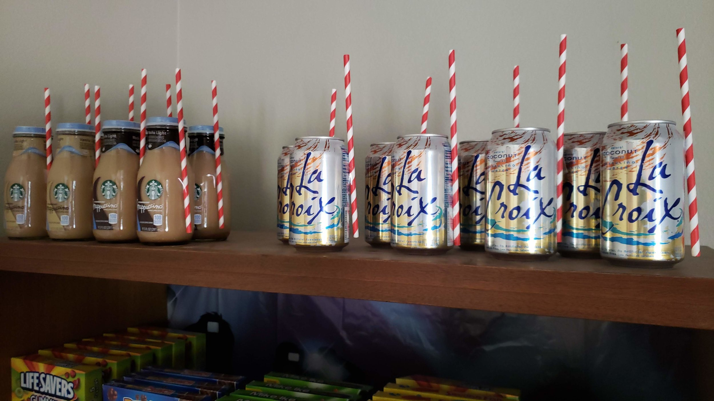 Target drinks with Dollar Tree straws taped to them.