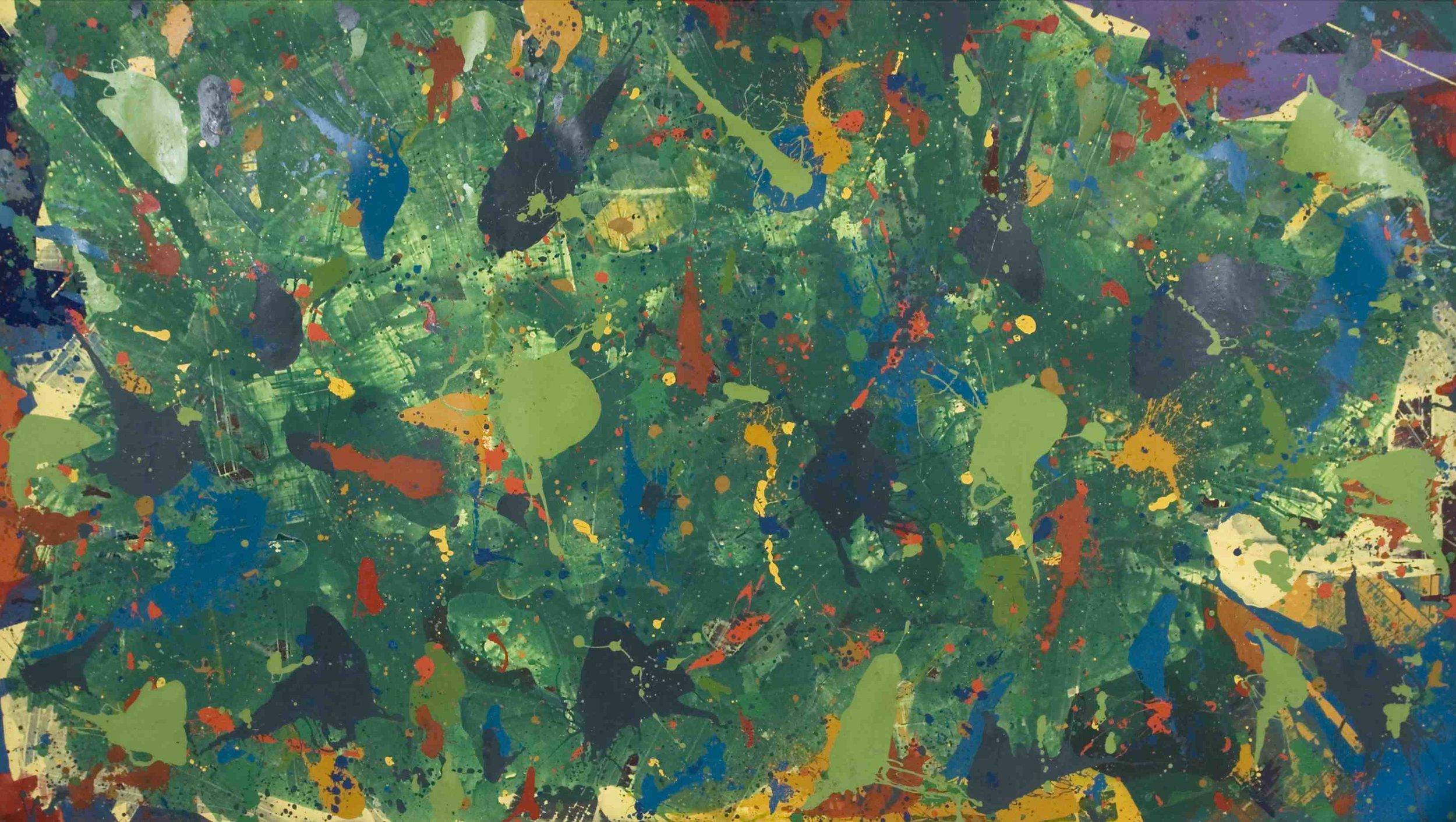Journey Through Green , 1974-75, acrylic and enamel on canvas, 271 x 480 cm.