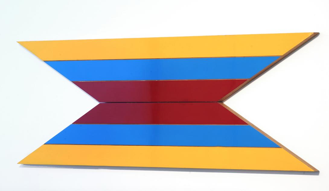 Temple , 1968-1969, enamel on glider plywood, 81.5 x 243.5 x 2.5 cm.