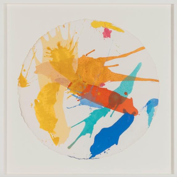 Corvis , 2014, acrylic on handmade paper, 70 x 70 cm.