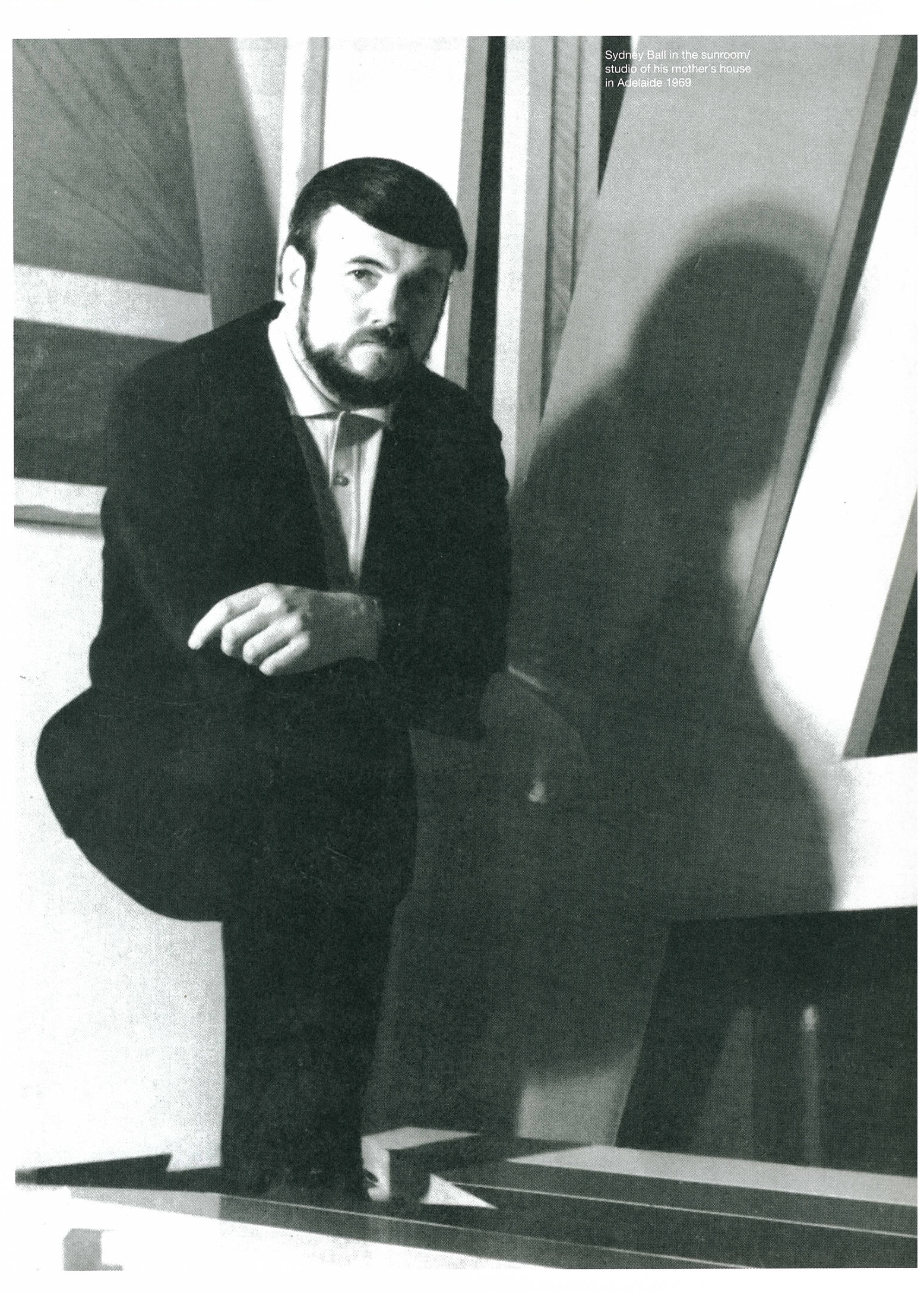 Sydney Ball in the sunroom/studio of his mother's house in Adelaide, 1969.