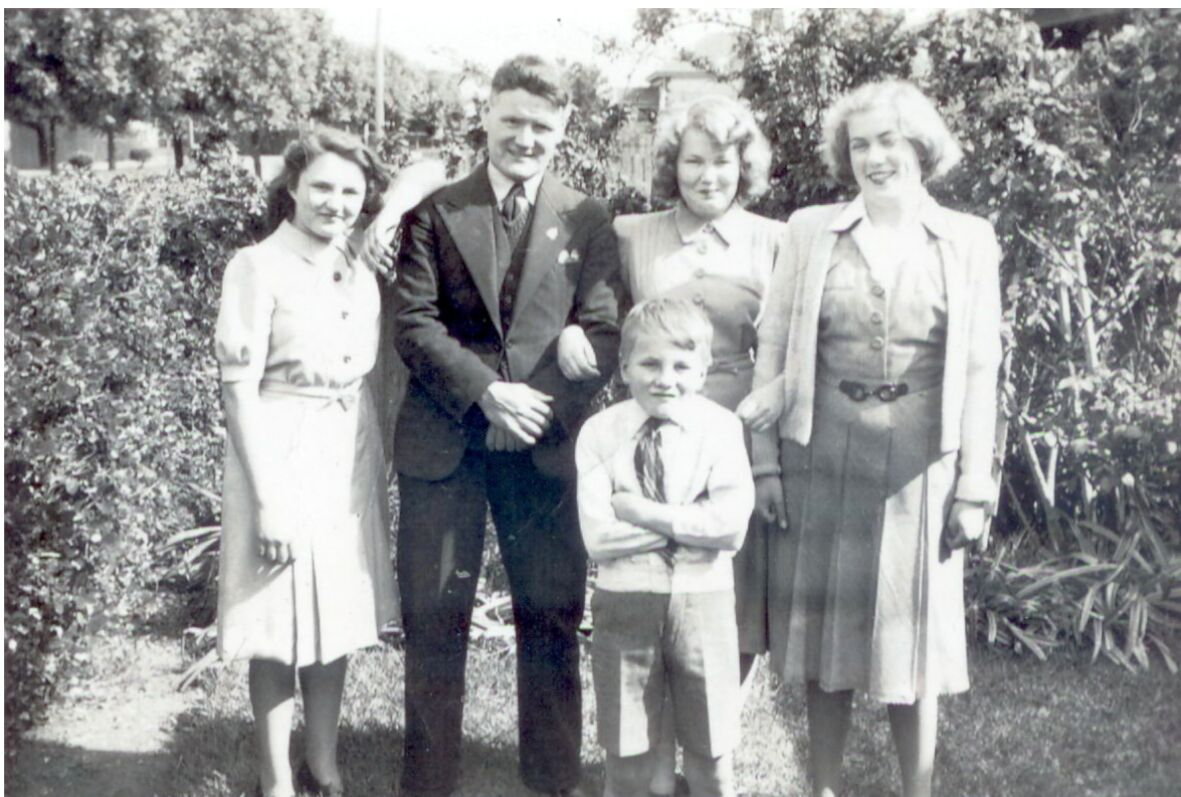 Syd's younger sister Lillian_ Syd's Cousin Frank_ Syd's older sister Shirley and family friend Dawn Burrell.jpg