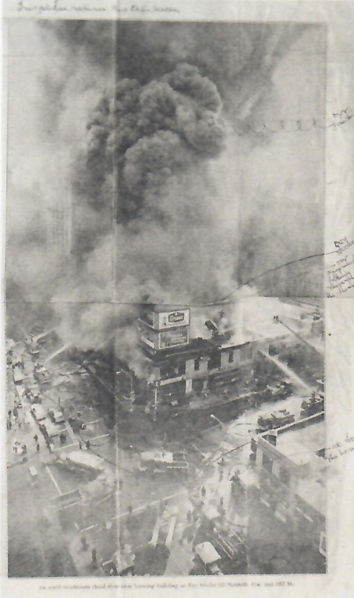 Ball's notes on a report on the fire in his Chelsea studio, published in  The Daily News , 20 January 1970.