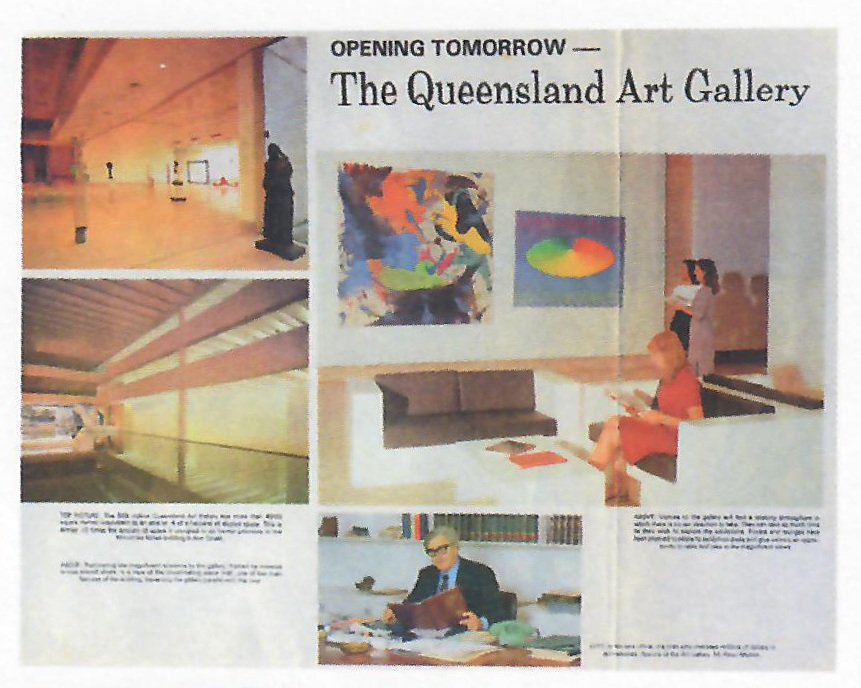 Article in the  Sunday Mail , 20 June 1982, on the opening of the Queensland Art Gallery, showing Ball's work  Pawnee Summer  (1973) in the museum's inaugural exhibition.