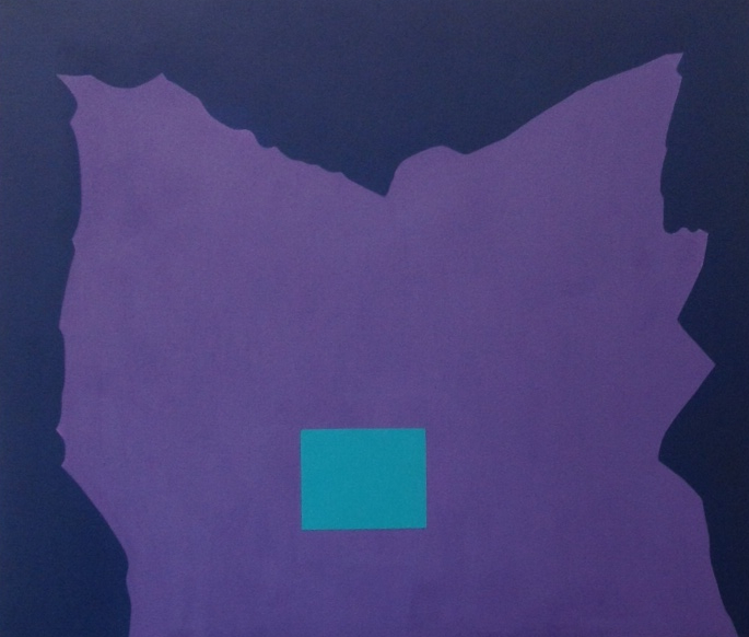 Purple Shape with Rectangle (Turquoise) , 2003, acrylic on canvas, 79 x 92 cm.