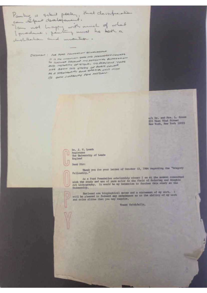 Sydney Ball's statement and letter for the Ford Foundation Scholarship, circa 1964.