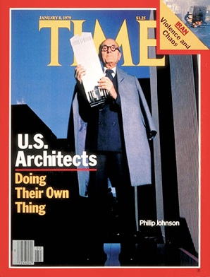 Philip Johnson and 'star architects' on the occasion of Johnson's 90th birthday at the Four Seasons, 1996. Johnson helped the careers of Frank Gehry, Robert Stern, Peter Eisenman, Michael Graves and others.