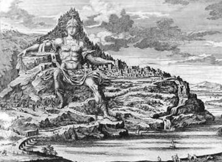 Mount Athos carved as a monument to Alexander the Great – representation by Fisher von Erlach, 1712.