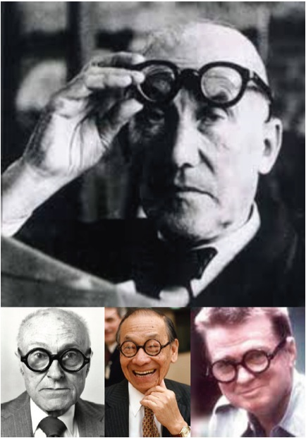 Top: Le Corbusier with his trademark round, thick-rimmed, black glasses. Bottom – left to right: Philip Johnson, I. M. Pei, and Paul Rudolph; all sporting Corb-like glasses. Rudolph didn't even need glasses but bought 50 pairs because he was afraid that they might be discontinued.
