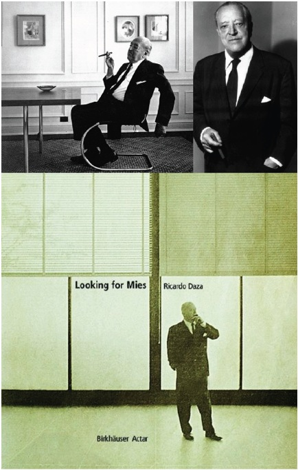 "Mies with his trademark cigar, usually held in his right hand except when posing for a photo at Crowne Hall, where he decided that it would look better if held in his left hand (see ""Looking for Mies"" by Ricardo Daza, 2000)."