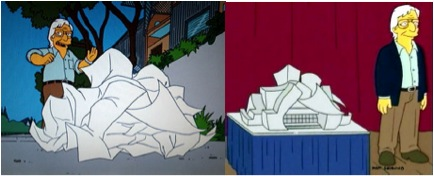 Gehry as depicted on the Simpsons cartoon TV show, 2005.