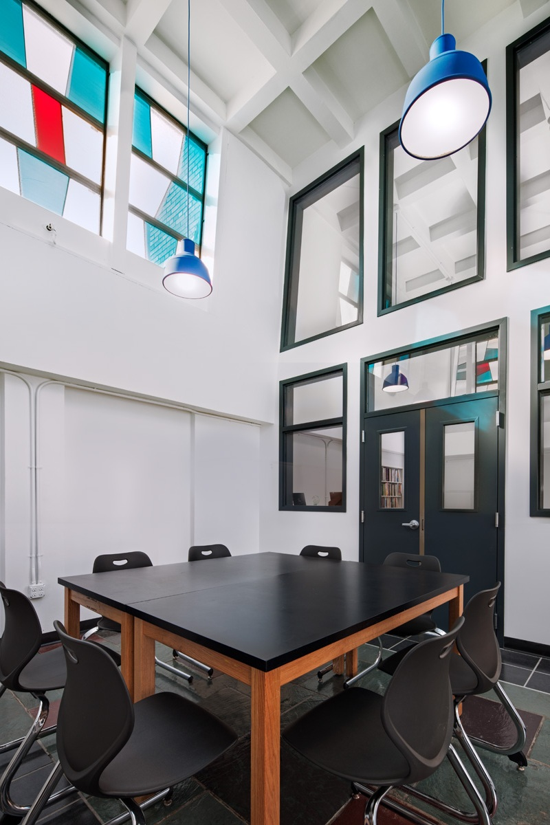 BPCS Renovation Complete - September 2014At Brooklyn Prospect's middle and high school in Windsor Terrace, construction is completed for a new black box theater, a library renovation, and the conversion of part of the existing convent into new classrooms and offices.