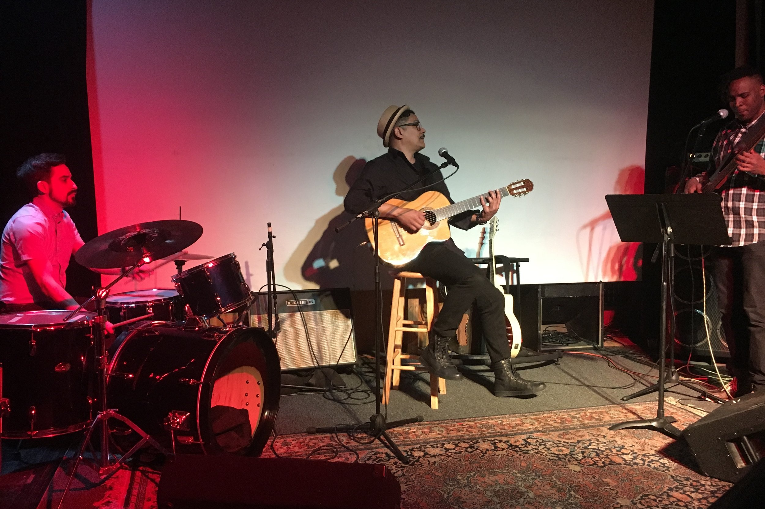 Loci Outing at Frost Theatre - May 17, 2019Team Loci attended the Troubadour of Brooklyn event at Frost Theatre of the Arts in Brooklyn to see our Office Manager Layton Weedeman perform with Roberto Poveda and Loisel Machin Rodriguez for an evening of Cuban bolero and soul music.