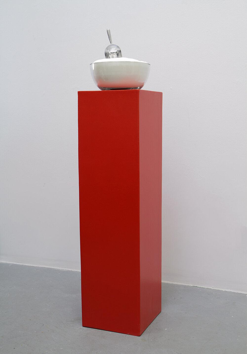 Appetite Apparatus #2 (Monosodium Glutamate, Stimulant) 2011 Wood, paint, glass bowl, aluminum scoop, monosodium glutamate (MSG) Dimensions variable