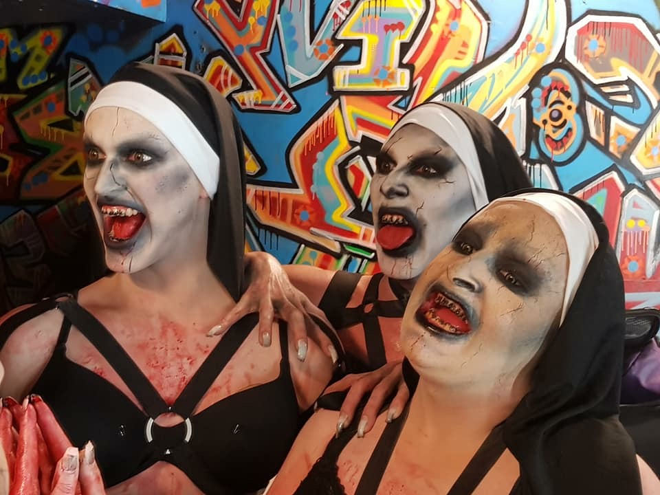 Sia Tequila, Decoda Secret & Hannah Conda as evil nuns from The Nun movie.
