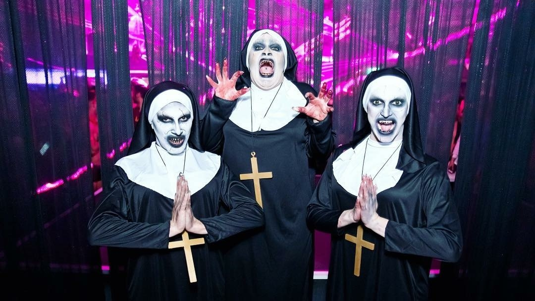 Decoda Secret, Hannah Conda and Sia Tequila as evil nuns from The Nun movie.