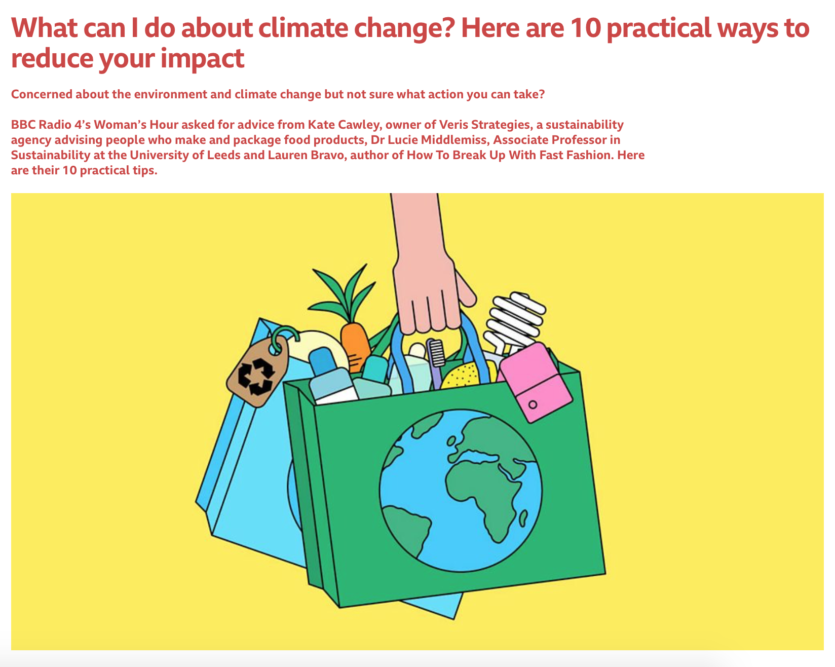 Ten practical ways to reduce your impact - BBC WOMAN'S HOUR