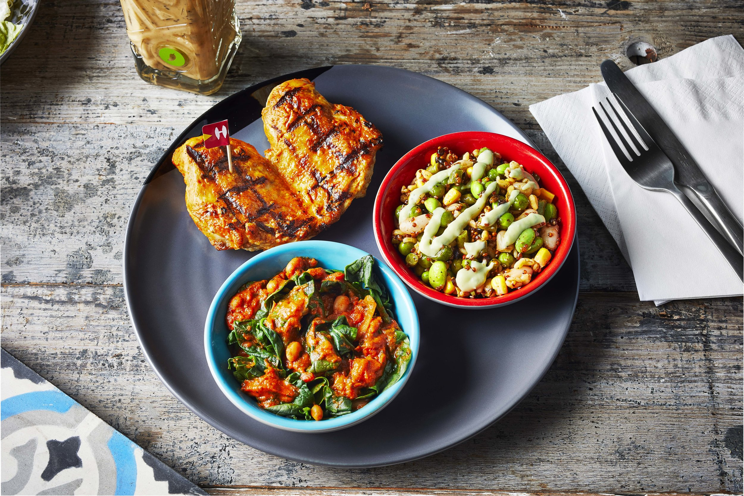 Nando's Chicken Butterfly with Saucy Spinach and Grains 'n Greens.jpg