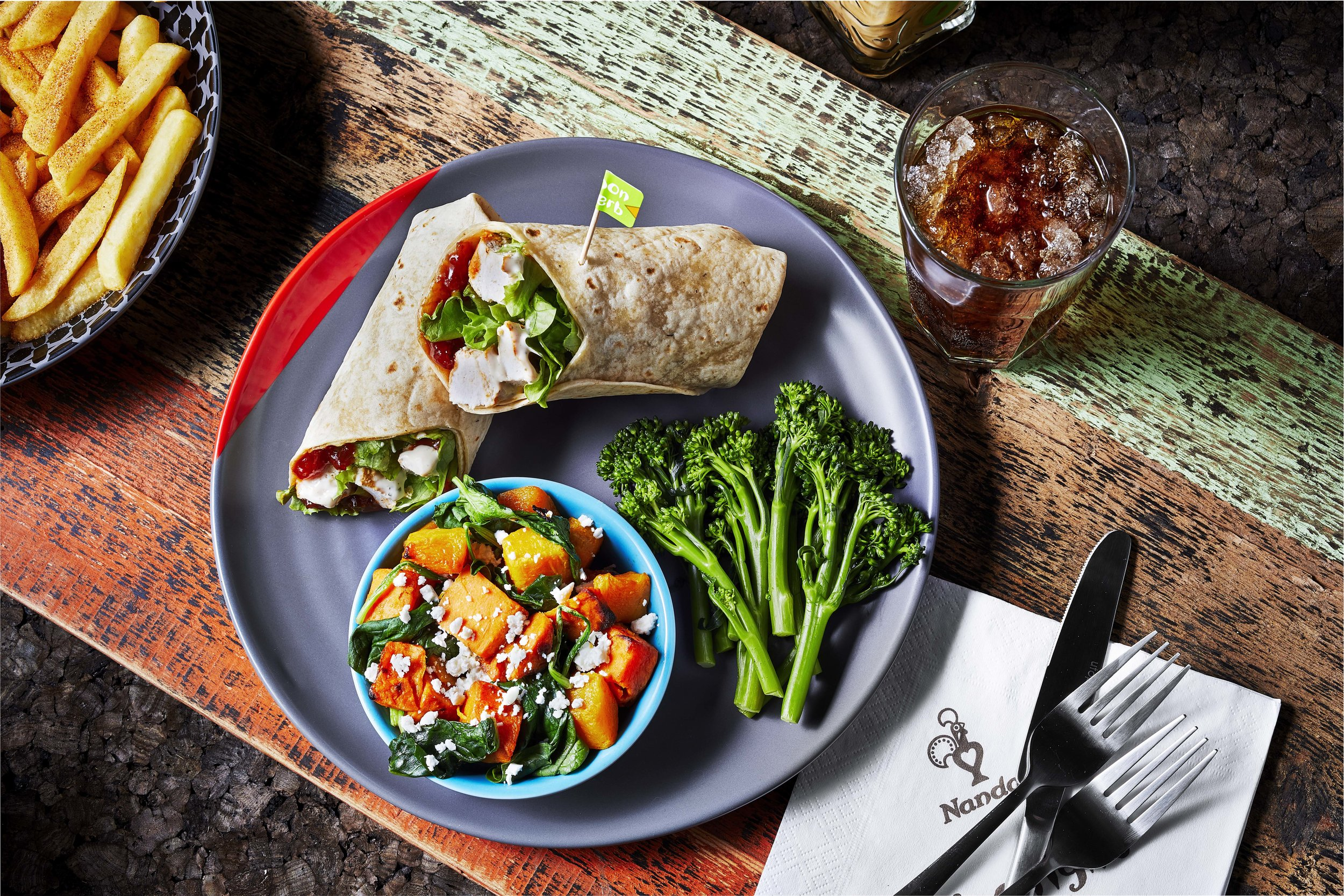 Nando's Chicken Wrap with Roasted Sweet Potato & Butternut Squash and Long Stem Broccoli.jpg