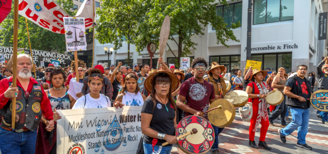 Seattle protest by indigenous and other activists in solidarity with Standing Rock, September 2016. By   John Duffy