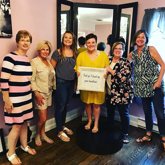 We could not love this group any more...Julia found the most perfect gown for her knockout figure during her Mini Bridal Exclusive! It's days like these that make this not feel like a job but just having fun dressing up pretty girls! Happy Friday . . . #tlcbridesarethebest #yestothedress #privateappointments #somuchfun #weddingdressshopping #finditdowntown #ourfrederick #eatingcheese #bridalsquad #glambride