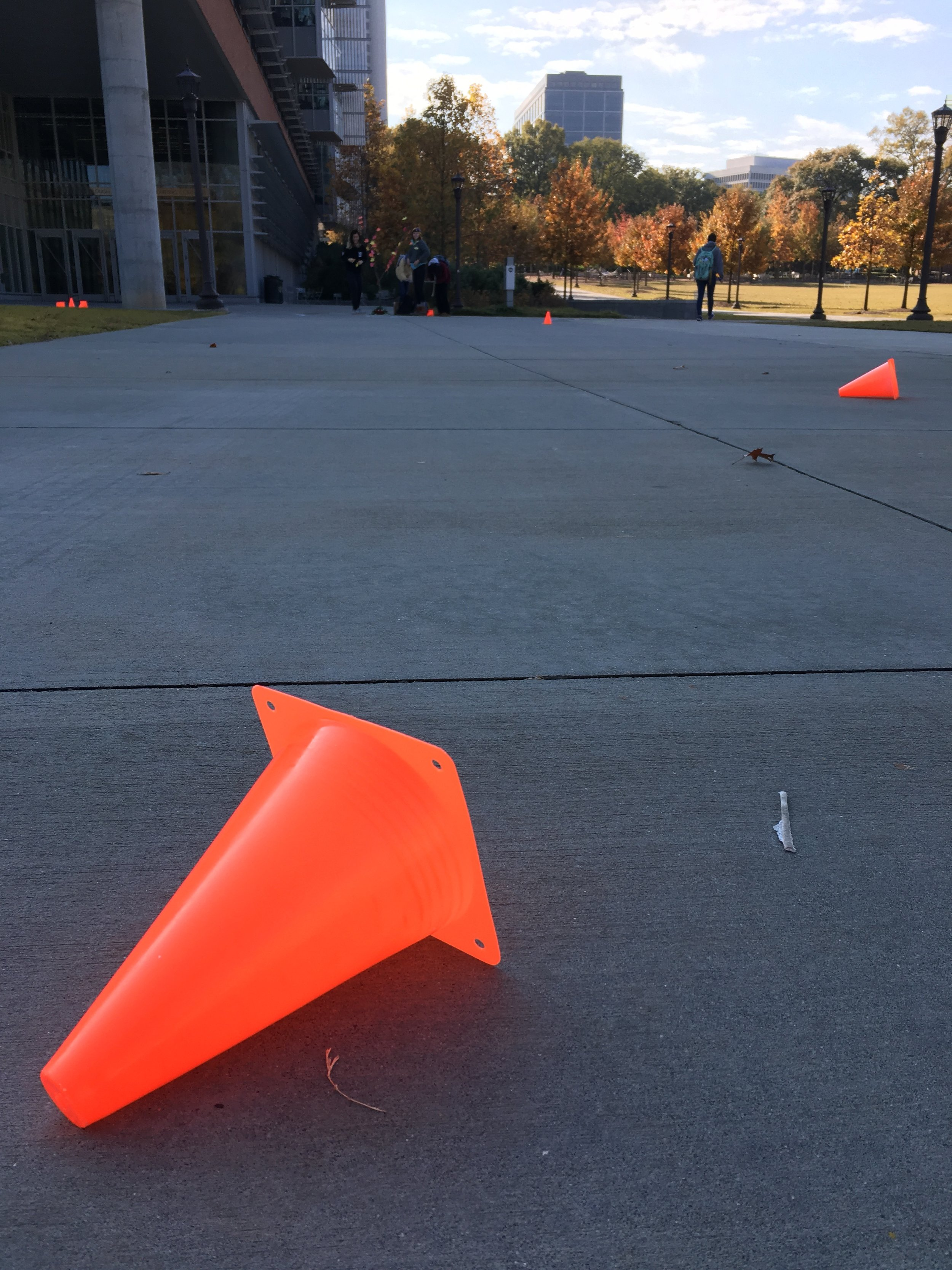 A cone that flew away during the course of our experiment.