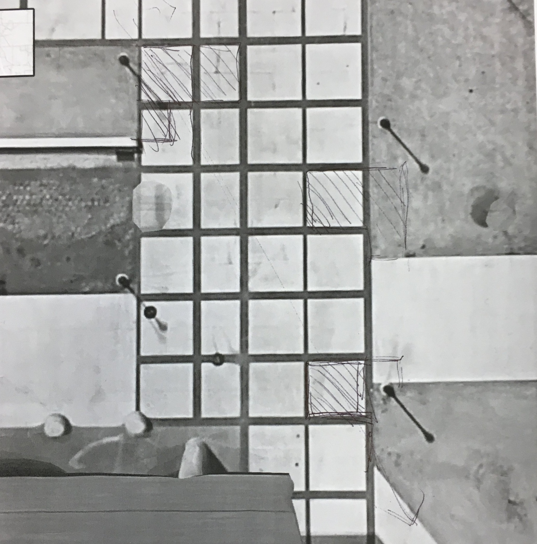 A drawing by one of the members of the committee, the shaded areas representing blocks of concrete that could be replaced with dirt or cobblestones to guide bikes in a certain manner.
