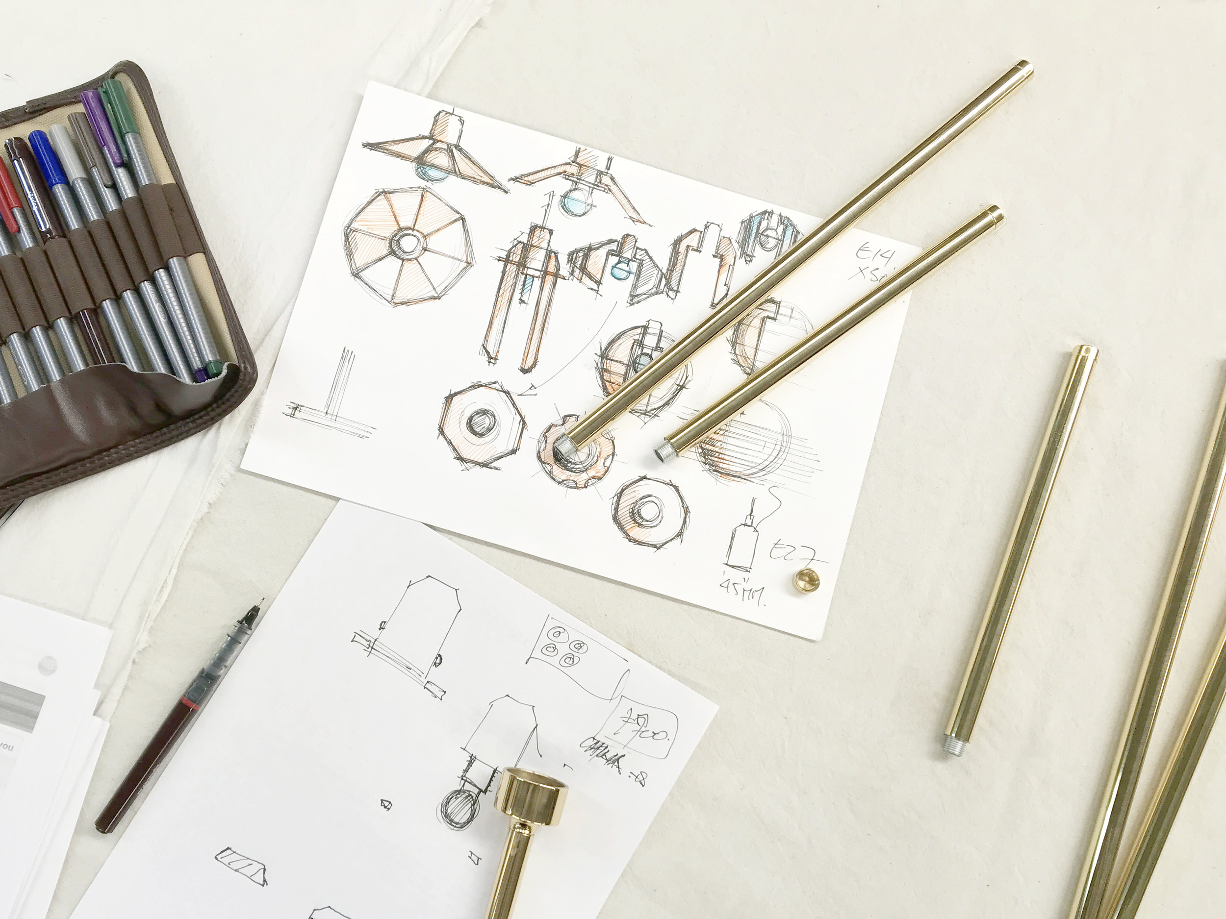 Gestalt Aquiline - photograph of sketches and prototypes