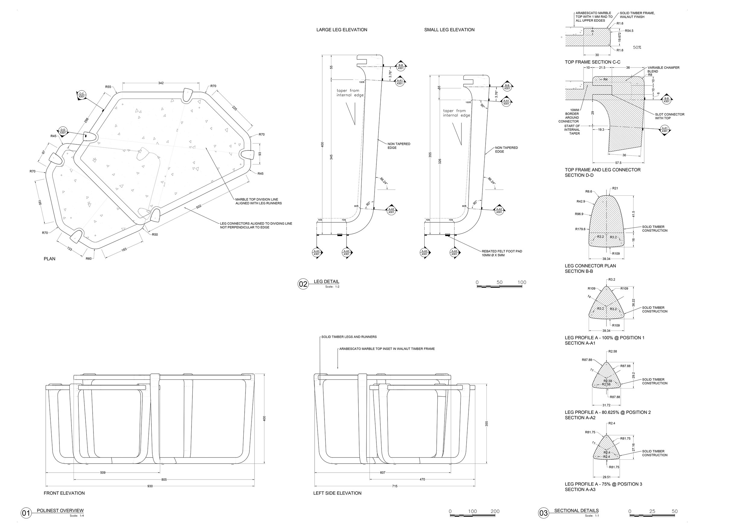 Nest Tables - Technical drawings