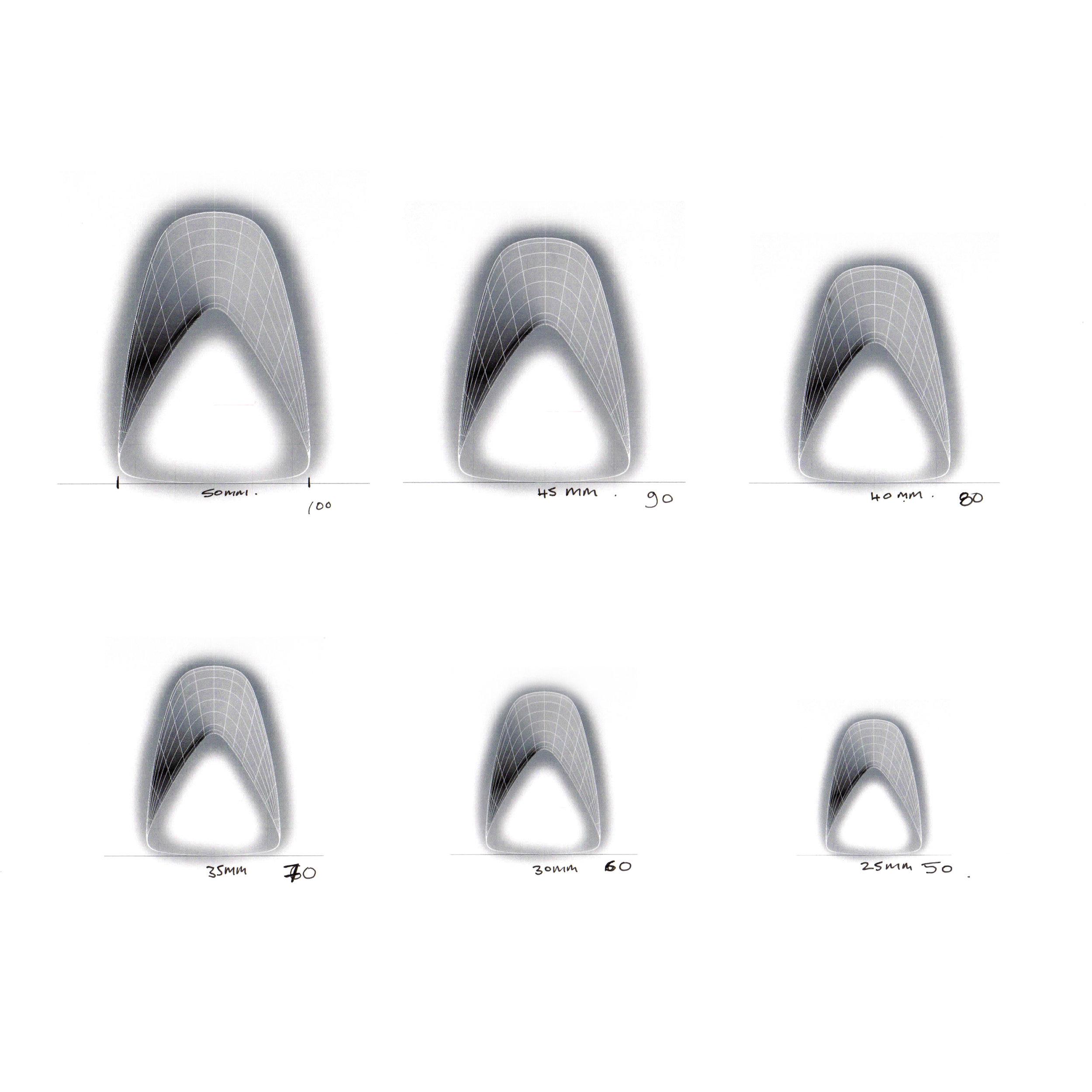 Nest Tables - Progressive cross-section of leg profile