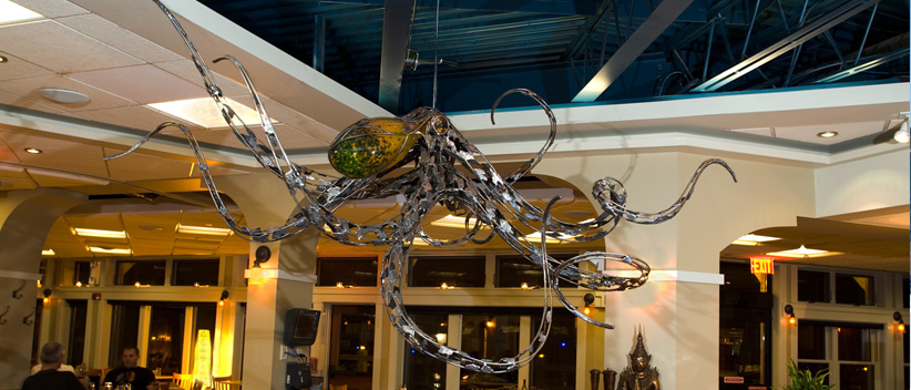 Octopus sculpture, marinelife art, glass sculpture, Chris Williams sculpture