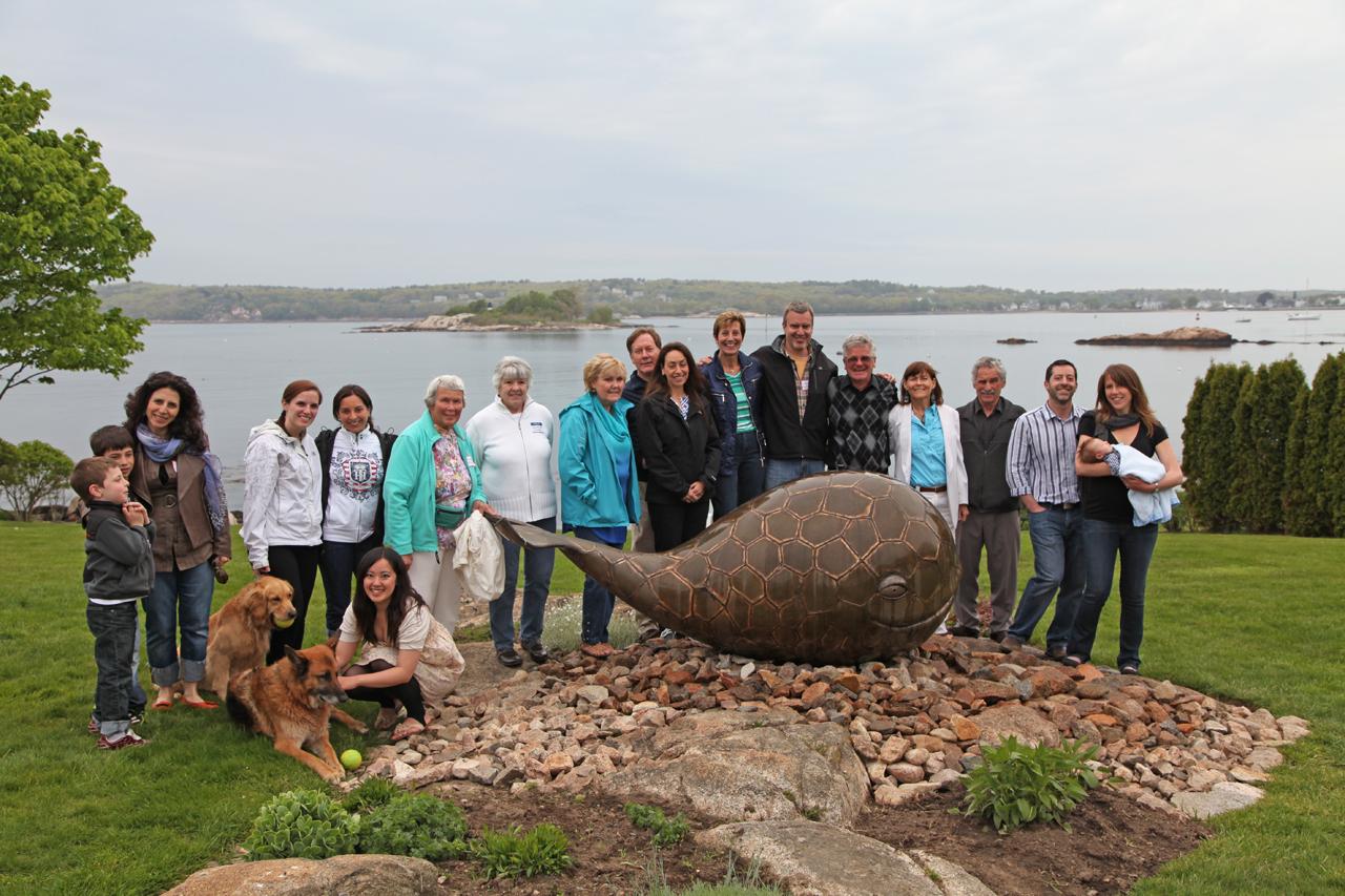 Whale party Chris Williams Sculpture, whale heads, marine sculpture