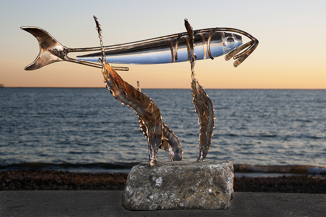 Catch of the Day sculpture, fish sculpture, bronze and glass sculpture, marine life, marine sculpture, fish sculpture