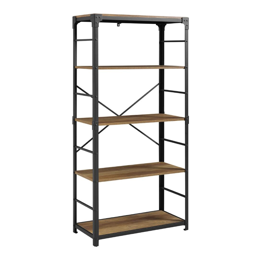 "Angle Iron 64"" Rustic Oak Bookshelf from Pier1"