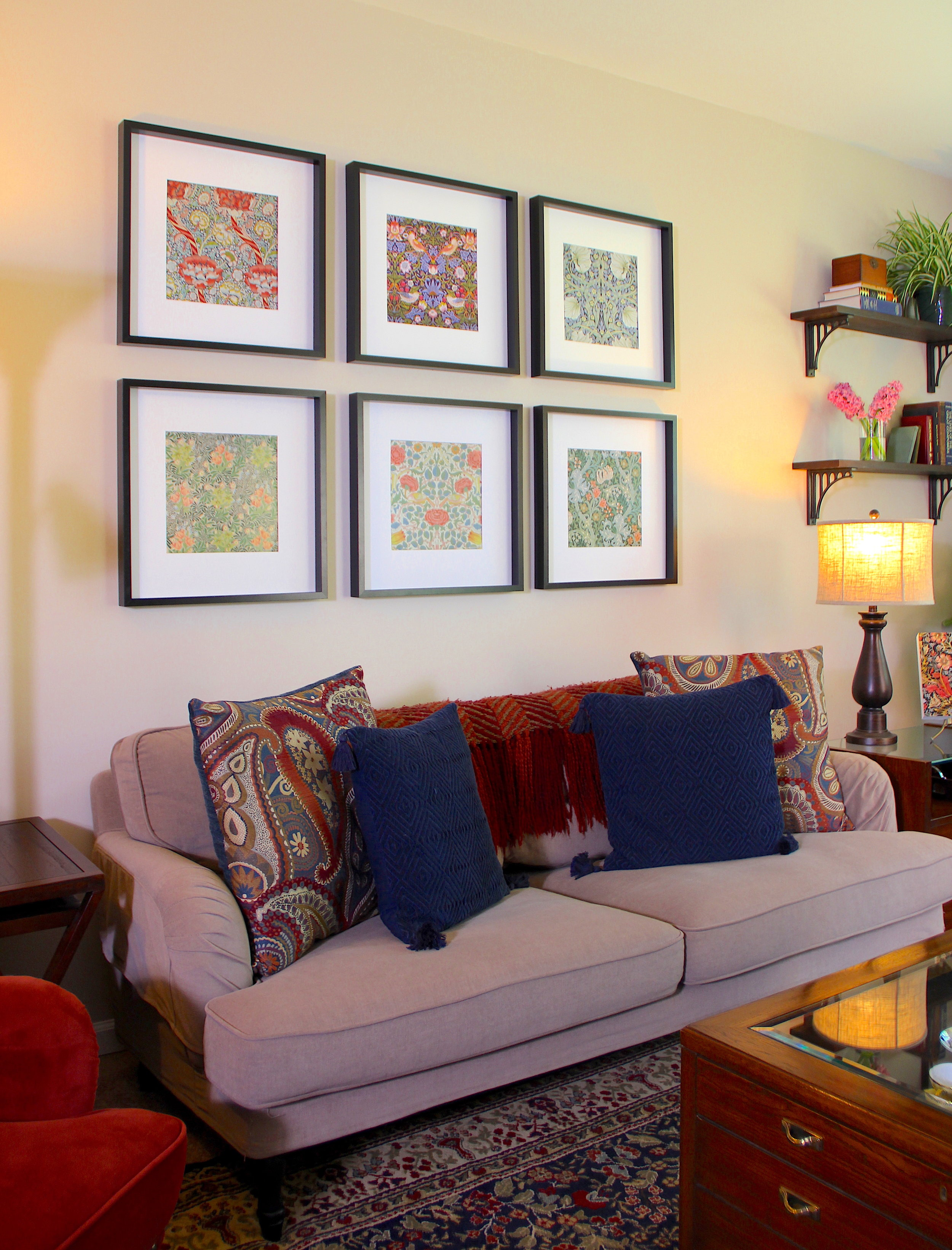 Ikea RIBBA Frames  with Morris prints (see  post ),  Pier1 Zano Brown Nesting Tables ,  Pier1 Oversized Paisley Pillows ,  Pier1 Diamond Chenille Navy Pillows