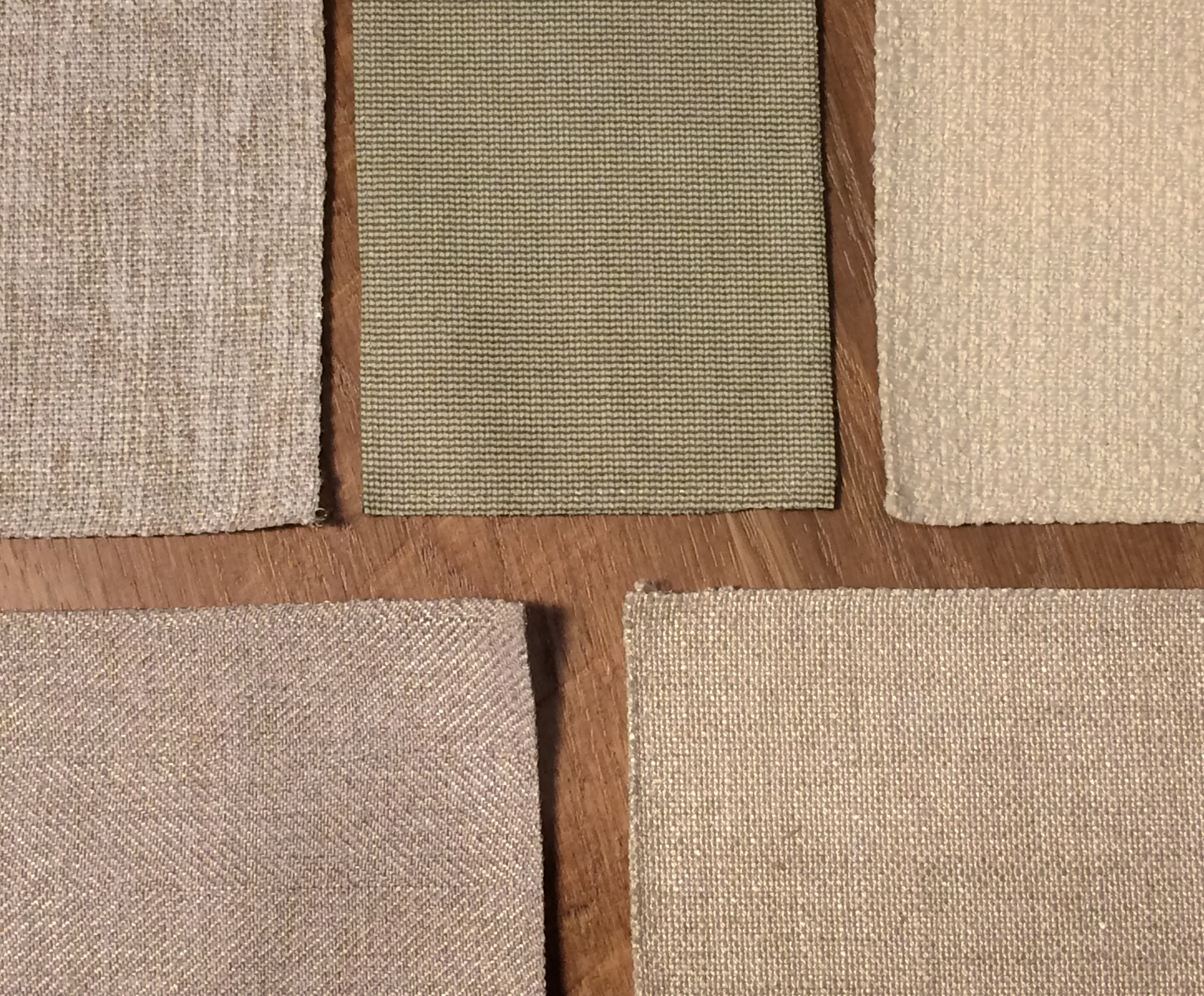 Interior Define swatches clockwise from top left: Wheat, Oyster, Vanilla, Natural, and Dune