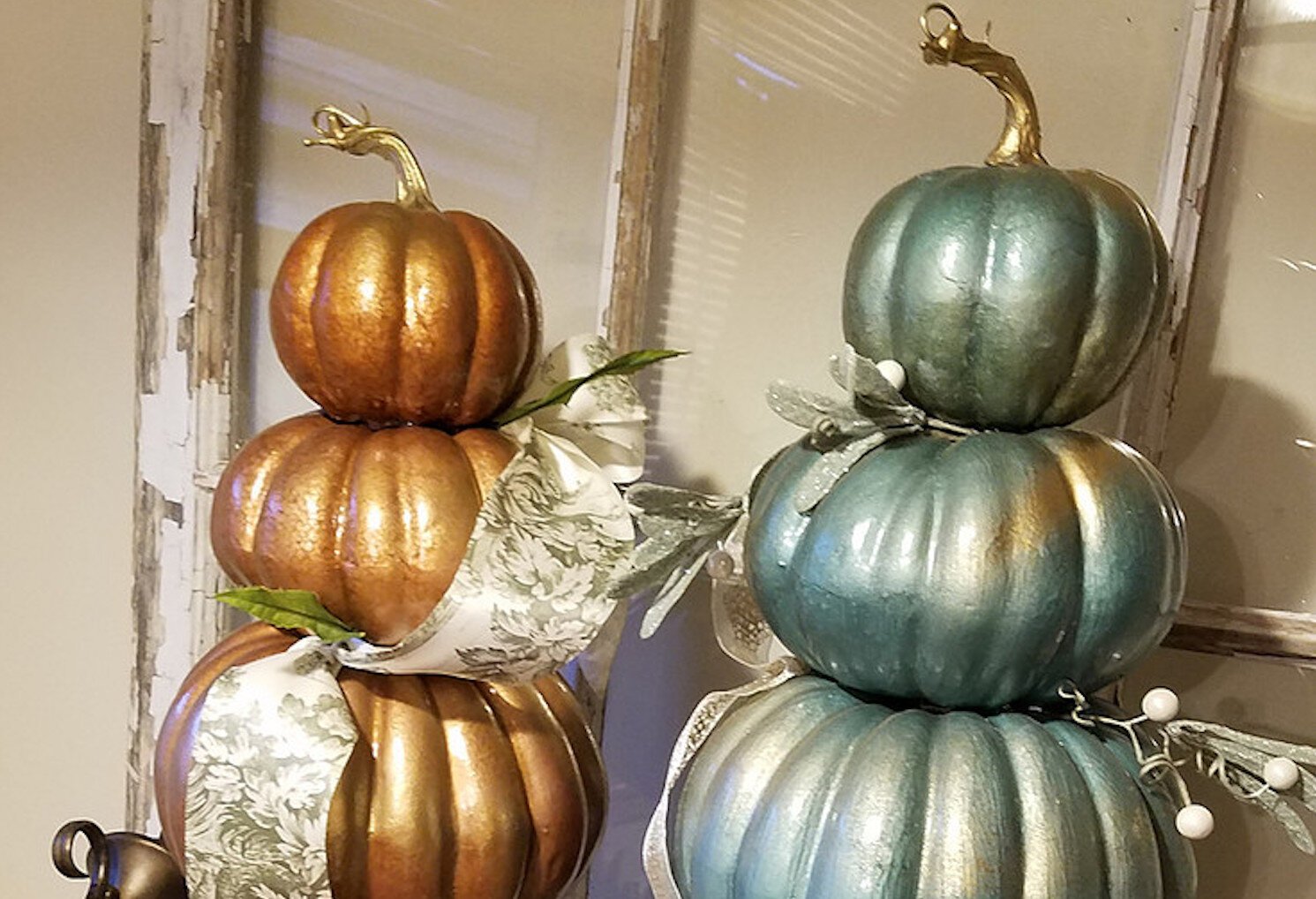 Loverly Cottage: Gold Kissed Pumpkin Topiary