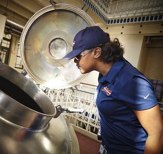 a worker at the Anheuser-Busch Brewery