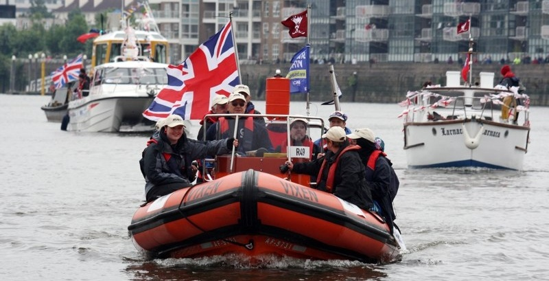 LUEC's RIB Vixen was one of 1,000 boats that took part in a boat run along The Thames to herald the Queen's Diamond Jubilee (2012)