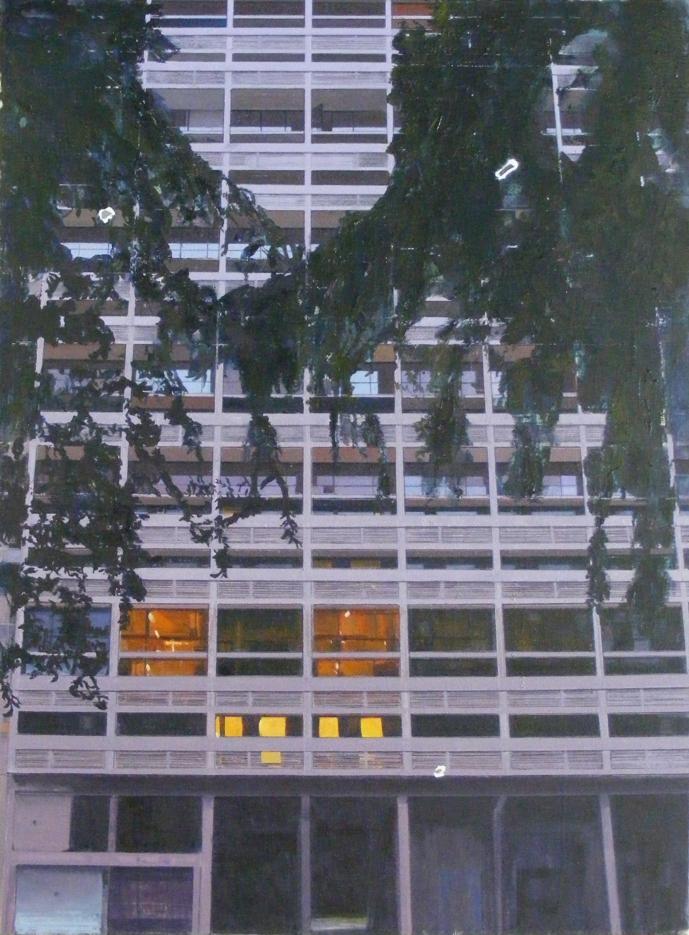 Le Corbusier Two  (with Le Corbusier flaking paint from Cité de Refuge) 75 x 110cm
