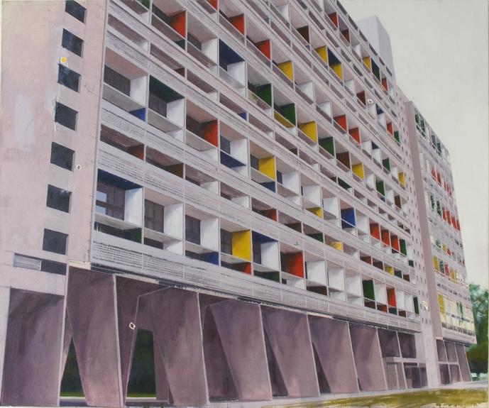 Le Corbusier Briey One  (with Le Corbusier flaking paint from Cité de Refuge) 122 x 102cm oil on canvas  Private Collection