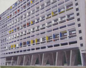 La Cité Radieuse of Le Corbusier, Study 5  20 x 25cm oil on canvas  Private Collection