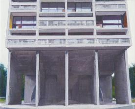 La Cité Radieuse of Le Corbusier, Study 4  20 x 25cm oil on canvas