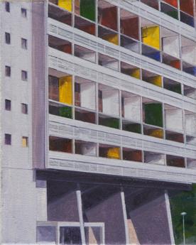 La Cité Radieuse of Le Corbusier, Study 1  20 x 25cm oil on canvas  Private Collection